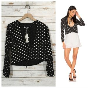 NWT REVOLVE X LIONESS Take the Plunge Top - Polka